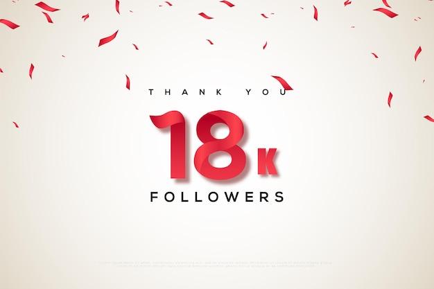 Merci 18k followers sur un ruban blanc et rouge qui pleut