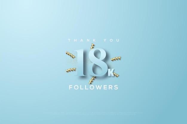 Merci 18k followers sur un ruban bleu et quelques rubans d'or