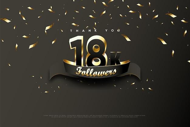 Merci 18k followers sur des rubans d'or noir et pluvieux