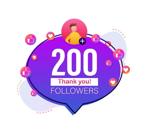 Merci 200000 numéros d'abonnés bannière de style plat félicitant multicolore