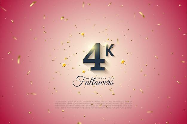 Merci à 4k followers avec des arrière-plans dégradés