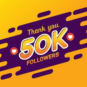 Merci 50k followers bannière de félicitations