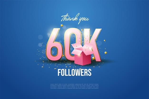 Merci à 60k abonnés avec des personnages illustrés et des coffrets cadeaux bordés d'or.