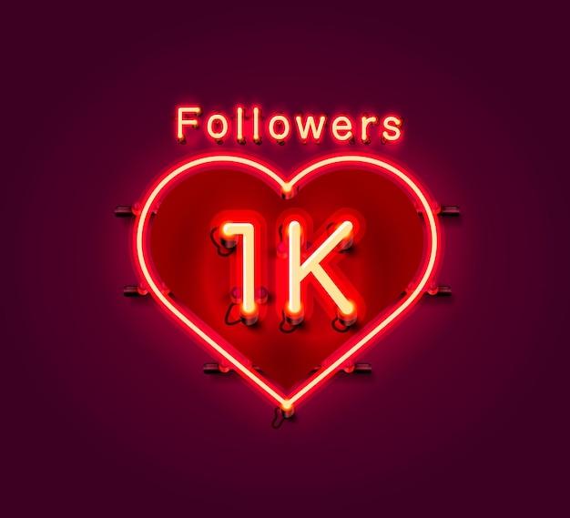 Merci les abonnés, groupe social en ligne 1k, enseigne au néon