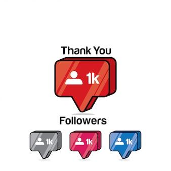 Merci les adeptes 1k. instagram like, icône isométrique