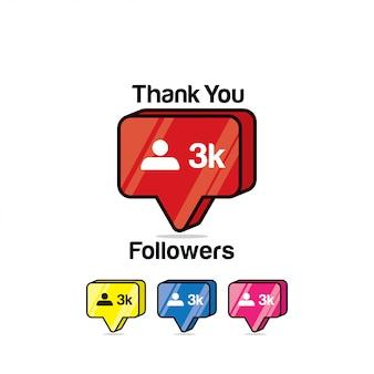 Merci les adeptes 3k. instagram like, icône isométrique