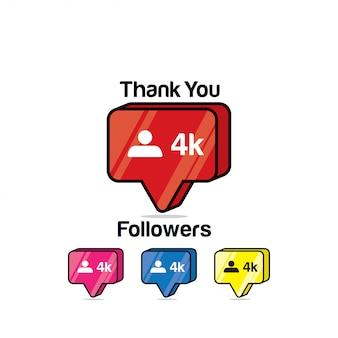 Merci les adeptes 4k. instagram like, icône isométrique