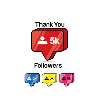Merci les adeptes 5k. instagram like, icône isométrique