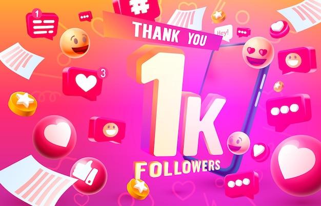 Merci adeptes peuples k groupe social en ligne heureux bannière célébrer vecteur