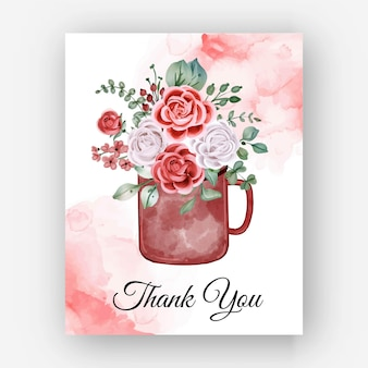 Merci aquarelle rose théière modèle carte