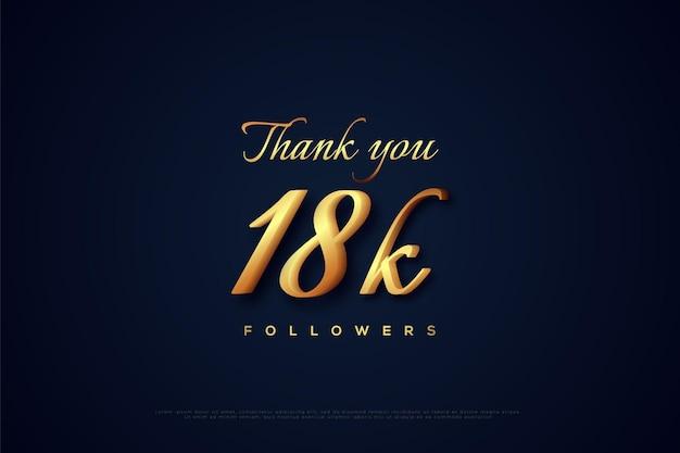 Merci aux abonnés 18k avec des chiffres en or avec une position légèrement inclinée
