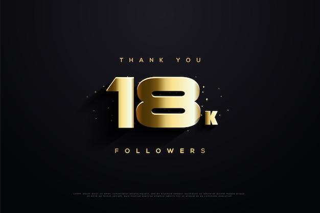 Merci aux abonnés 18k avec des nombres en or avec de grands nombres