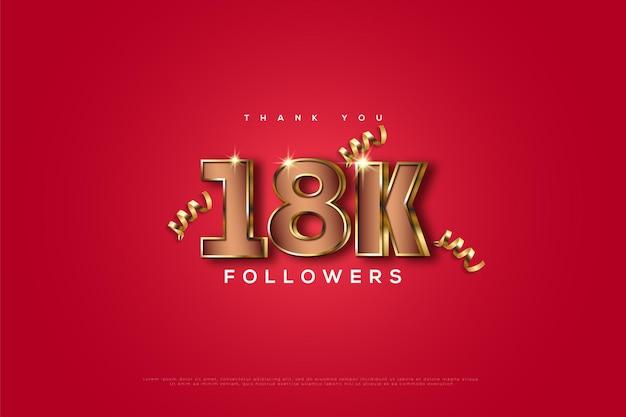 Merci aux abonnés 18k en rose et avec des chiffres en or 3d