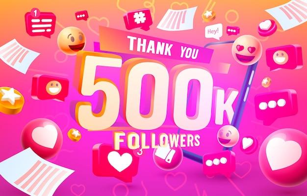 Merci aux adeptes, groupe social en ligne 500k, célébration de la bannière heureuse, illustration vectorielle