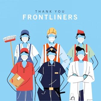 Merci aux travailleurs essentiels, à diverses professions, aux personnes portant des masques faciaux