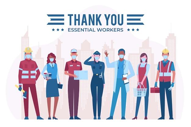 Merci aux travailleurs essentiels avec l'équipement