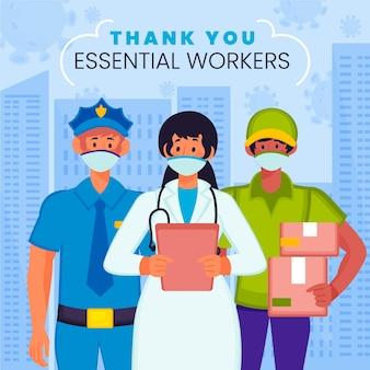 Merci aux travailleurs essentiels avec des masques