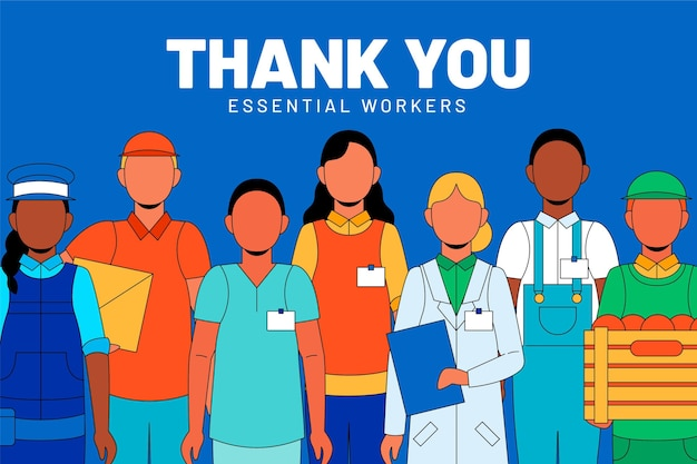 Merci Aux Travailleurs Essentiels Vecteur gratuit
