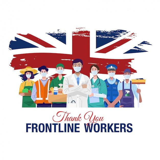 Merci aux travailleurs de première ligne. diverses professions personnes debout avec le drapeau de l'angleterre. vecteur