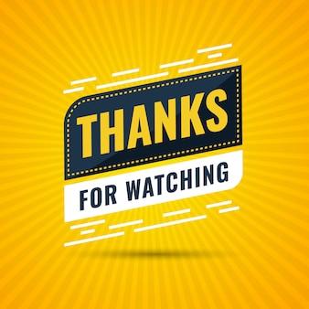 Merci d'avoir regardé la bannière des abonnés grâce à l'illustration de la carte de félicitations des abonnés pour les réseaux sociaux. un internaute ou un blogueur célèbre