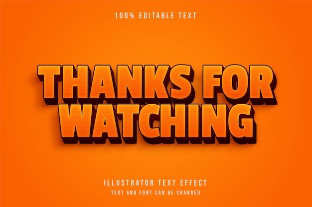Merci d'avoir regardé, effet de texte modifiable 3d effet de texte rétro rouge dégradé jaune