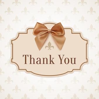 Merci. bannière avec ruban doré et un arc.