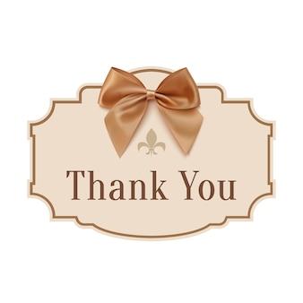 Merci. bannière avec ruban doré.