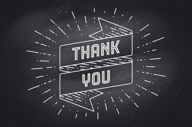 Merci. bannière de ruban avec texte merci avec graphique de craie sunburst sur tableau noir. dessiné à la main pour le jour de thanksgiving. typographie pour carte de voeux, bannière et affiche. illustration