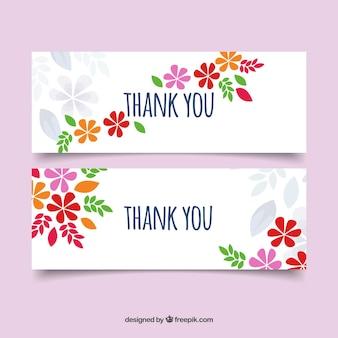 Merci bannières avec des fleurs