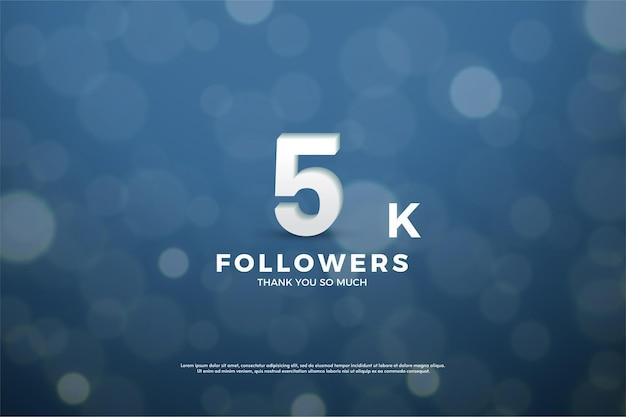 Merci beaucoup 5k followers avec cet effet de lumière bleu marine.