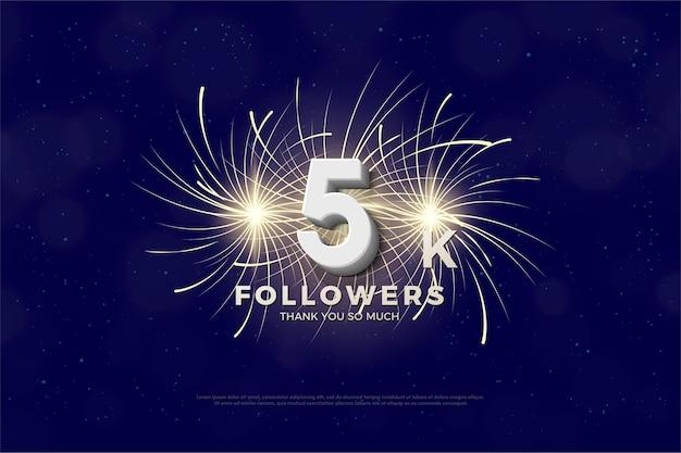 Merci beaucoup 5k followers avec des feux d'artifice en remorque.
