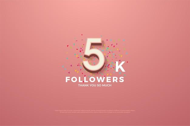 Merci beaucoup 5k followers avec un nombre coloré et des taches de rousseur.
