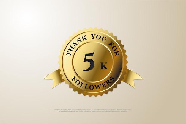 Merci beaucoup 5k followers avec le numéro à l'intérieur des médailles d'or brillantes.