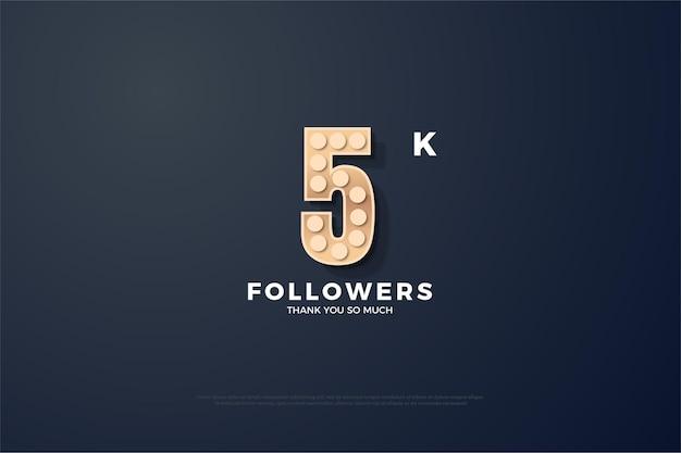 Merci beaucoup 5k followers avec des personnages texturés et lumineux.