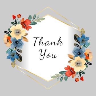 Merci carte aquarelle colorée florale avec cadre doré