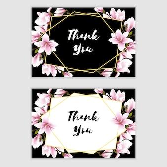 Merci carte avec bouquet de fleurs de magnolia