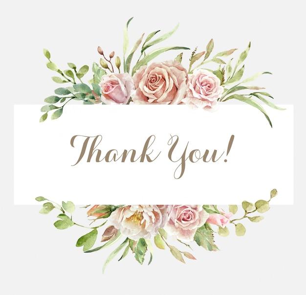Merci carte avec bouquet de rose aquarelle