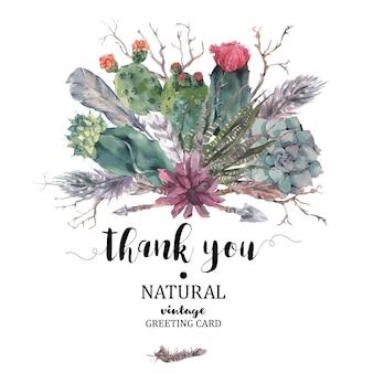 Merci carte avec des branches et succulentes