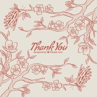 Merci carte de fleurs de cerisiers