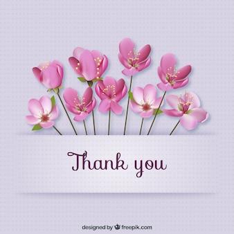 Merci carte avec des fleurs