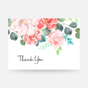 Merci carte avec lettrage et fleurs.