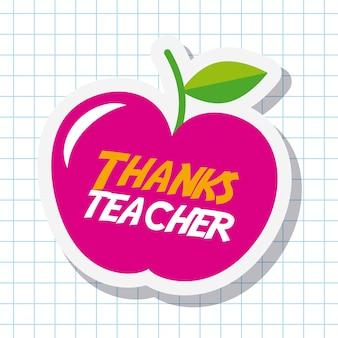 Merci la carte de professeur grande célébration de pomme rose
