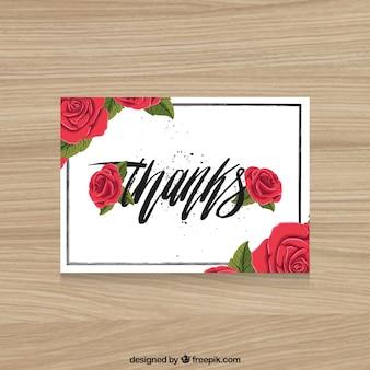 Merci carte avec des roses