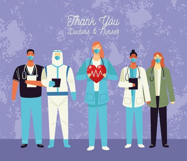 Merci carte de voeux médecins et infirmières avec le personnel médical et les cœurs