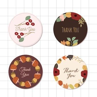 Merci cercle étiquette avec des fleurs d'automne
