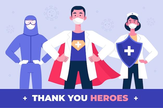 Merci concept médecins et infirmières