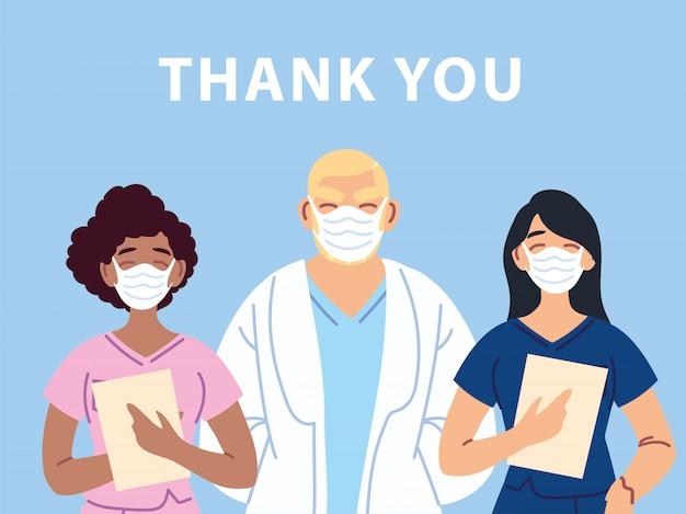 Merci docteur et infirmières et équipe du personnel médical, luttant contre le coronavirus