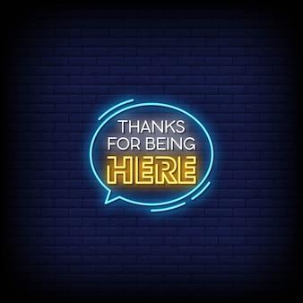 Merci d'être ici texte de style d'enseignes au néon