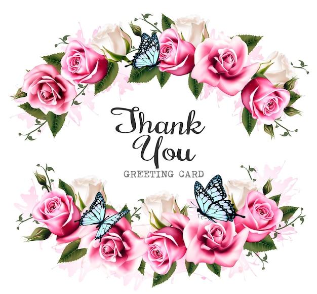 Merci fond avec de belles roses et papillons. vecteur.