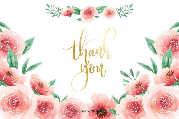 Merci fond avec décoration florale